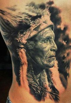 Ethereal black and gray profile of elder Indian chief by Den Yakovlev