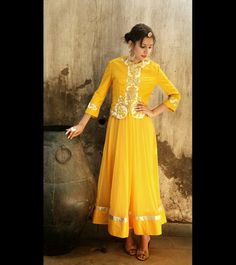 Yellow sleeveless anarkali # embroidered jacket # cotton silk palazzo pant.