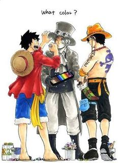Sabo, Luffy, and Ace! Really, what color? One Piece Comic, One Piece Manga, Ace One Piece, One Piece Funny, Zoro One Piece, One Piece Fanart, One Piece Images, One Piece Pictures, Monkey D Luffy