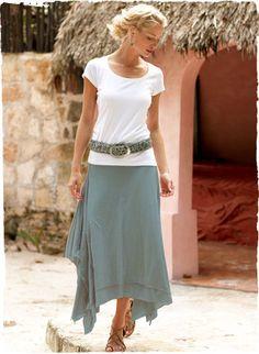 Love love love this romantic skirt. Pima jersey layers and handkerchief hem. Skirt Outfits, Dress Skirt, Cute Outfits, Modest Outfits, Modest Fashion, Fashion Outfits, Handkerchief Skirt, Jersey Skirt, Layers