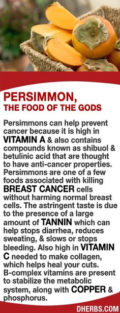 25 Most Recent Ways to Prevent Cancer Persimmons can help prevent cancer as it is high in vitamin A contains compounds known as shibuol betulinic acid that have anti-cancer properties is associated with killing breast cancer cells without harming normal cells. The astringent taste is due to large amounts of tannin can help stops diarrhea, reduces sweating, slows or stops bleeding. High in Vitamin C needed to make collagen. B-complex vitamins are present to stabilize the metabolic…