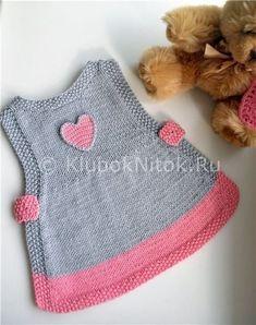 Платье-сарафан для малышки | Вязание для девочек | Вязание спицами и крючком. Схемы вязания.
