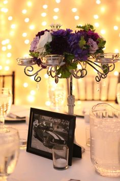 Our shabby chic candelabra with a flower wreath by Petals & Lucy @Trisha Lucy! Photography by Mi Amore Photography.