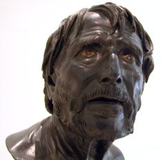 Roman bronze bust, the so-called Pseudo-Seneca, now generally identified as an imaginative portrait of either Hesiod or Aristophanes (Museo Archeologico Nazionale, Naples)