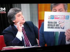 Sporting CP's president Bruno de Carvalho confronts Pedro Guerra (in a TV program where this guy is resident commentator) now Director of Benfica TV with a newspaper headline denouncing the huge debt of the president of Clube Lampião to a bank that was deemed bankrupt wile that insane amount of money's debt was... foregiven
