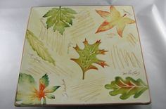 Italian Ceramic Pretty Square Platter, Hand Decorated Autumn Leaves, Vintage…