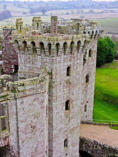 Raglan Castle ruins, near Abergavenny, Wales, UK - dating back to 1430's, the view from the tower is amazing.