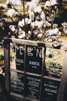 Menu ideas - 2014 Country Vintage Wedding Ideas I would write it with the color to match the wedding! like a plum!!!