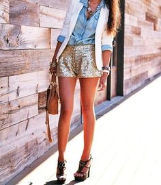 Love the chambray shirt with the sequin shorts!!  Saw similar shorts on facebook.com/shopJDV for only $33!