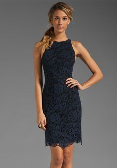 LOVE THIS....many sleeveless dresses are too wide across shoulders.  This one is not.....REBECCA TAYLOR Lace Dress in Navy at Revolve Clothing
