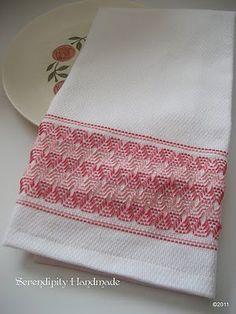 Swedish weaving is also know as Huck Stitching (and a bunch of other names) and was especially popular during the 1930's and 40's to embellish tea towels and aprons.