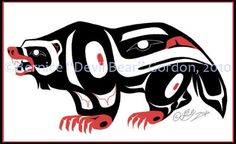 Commissions for client- a tattoo design of a Wolverine. it's funny becuase my wolverine tattoo. Haida Tattoo, Haida Kunst, Haida Art, Spirit Animal Tattoo, Badger Tattoo, Wolverine Tattoo, Wolverine Animal, Daddy Tattoos, Doodle