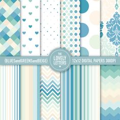 Blues Greens and Beige Digital Papers for baby showers, paper party decor, cards, scrapbooking and crafts. Printable Designs - DIY.