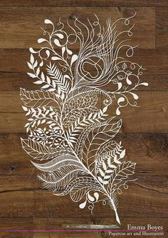 Emma Boyes paper-cut art and illustration. 'Peacock Feather'