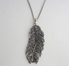 Feather Pendant Necklace Silver Tone  Imitation Marcasite Vintage Style By Next