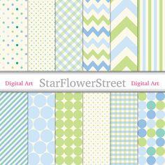 Blau Digital-Grünbuch--Creme gemustert Baby Boy Scrapbook Hintergrund--karierte Dot Chevron Muster Boy 90--Instant Download