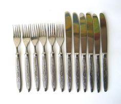 Cutlery Set of 12 Heavy Knives and Forks Vintage by MerilinsRetro