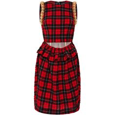 Simone Rocha Tartan Seersucker Beaded Dress (36,545 MXN) ❤ liked on Polyvore featuring dresses, seersucker dress, sleeveless dress, beaded cocktail dress, red knee length dress and red plaid dress