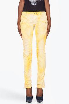 BALMAIN Yellow Printed Jeans