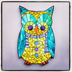 "Lemon Drop, stained glass mosaic silhouette, 17""x10"", 2015 by Kasia Polkowska  Visit www.kasiamosaics.com to see the schedule for upcoming stained glass mosaic owl workshops"
