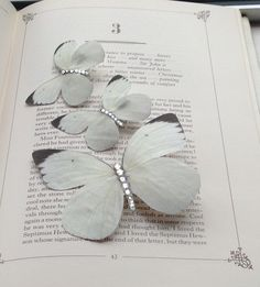 Trio White Wedding butterfly hair clips  £12.50