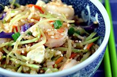 Recipe for sesame shrimp fried rice with broccoli slaw {The Perfect Pantry}