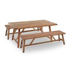 Capri Picnic Set #ad Wooden Wall Decor, Wooden Walls, Picnic Set, Table Set Up, Acacia Wood, Rv Living, Eclectic Style, Outdoor Furniture, Outdoor Decor
