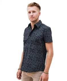 Black Cotton Button Up Shirt For Men Mayan Inspired by IIISOLIII