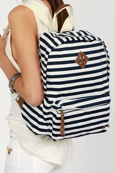 Head to campus with the adorable Madden Girl Bskool Navy Blue Striped Backpack over your shoulder and see how a backpack can complement your outfit. Striped Backpack, Striped Bags, Backpack Purse, Cute Backpacks For School, Girl Backpacks, Summer Stripes, Blue Stripes, Navy Blue, Cheap Michael Kors