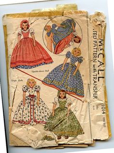 Vintage 1940s McCall 1014 Pattern Upside Down or Topsy Turvy Doll & Doll, Dress