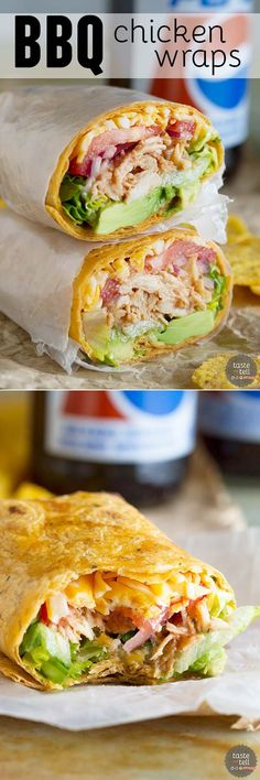 BBQ Chicken Wraps - This can be ready to go in 10 minutes if you keep shredded chicken on hand!