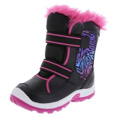 Get her ready to hit the slopes with this Snowboard Boot! It features a tumbled upper with dual straps, padded collar and tongue, faux fur trim, soft lining, and a rubber outsole. Thermolite insulation keeps feet warm in temperatures as low as -22ºF (-30ºC). Manmade materials.