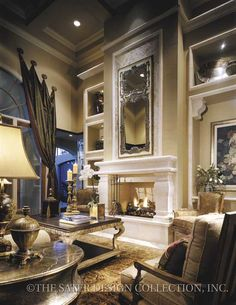 """The formal living room of the """"Casa Bellisima"""" home plan - Sater Design Collection #houseplans"""