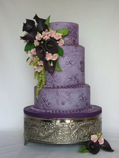 Purple Cherry Blossom and Callas  wedding cake ~ all edible