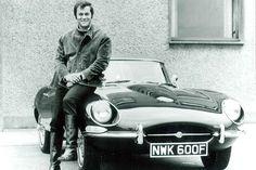 Tony Curtis in his Jaguar E-type...