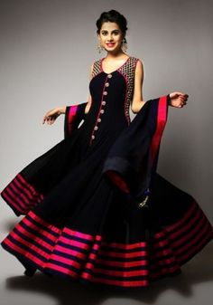 Women s Clothing - Georgette Embroidered Black Anarkali Salwar Kameez - ( ) - Glam up your persona upcoming wedding season by styling your self with this beautiful ethnic attire.Salwaar Suits - Georgette Embroidered Black Anarkali S Designer Salwar Kameez, Designer Anarkali, Black Anarkali, Long Anarkali, Anarkali Suits, Rent Dresses, Party Wear Dresses, Dress Party, Bollywood Dress