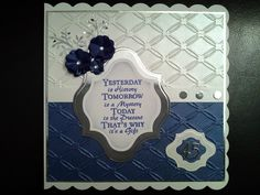 Anniversary card using the tied together embossing folder and a clarity sentiment.