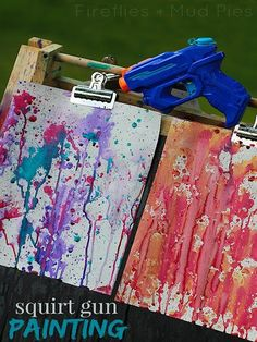 Squirt Gun Painting: imagine doing this with fabric paint!