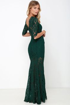 Lulus Exclusive! Once you set your sights on the Only One Dark Green Lace Maxi Dress all other options will fade into the background! Sheer dark green lace elegantly graces the fitted bodice of this stunning dress, with a high rounded neckline and half sleeves trimmed in delicate eyelash lace. A sweetheart silhouette, and sheer back takes shape thanks to stretch knit lining that ends at mid-thigh. A romantic maxi skirt with flaring godets and a sexy side slit finishes the look. Hidden back…
