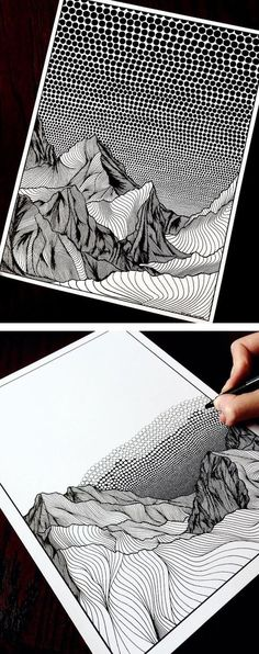 Art Inspiration Inspired by her new home in Canada, Netherlands-born artist Christa Rijneveld creates pointillist line drawings of mountains. Art Inspiration Source : Inspired by her new home in Canada, Netherlands-born artist Christa Rijneveld Arte Sketchbook, Inspiration Art, Creative Inspiration, Pointillism, Pen Art, Art Auction, Landscape Art, Canada Landscape, Landscape Drawings