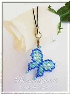 Phone Strap Farfalla in brick stitch - Ricamar Gioielli