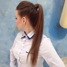 """56 Likes, 1 Comments - СПб• Косы • Макияж • Маникюр (@grimerka6) on Instagram: """"Совсем не обязательно забирать в косу все волосы - высокий хвост тоже будет смотреться отлично! …"""""""