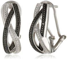 """Sterling Silver White and Black Diamond """"S"""" Shape Intercrossed Omega Back """"J"""" Hoop Earrings"""