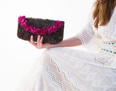 Fuchsia color, BLACK bag, HANDMADE bag ,Clutch bag, Flower bag, Natural Leaves, Natural Materials, unique bag, HYDRANGEA flowers, design bag  This beautiful clutch bag is made from natural leaves. The natural materials are processed so as not to lose their elasticity, keeping great durability. Lets celebrate the Happy Mother's Day with 20% discount on all products.  FLOWER BAG!!! An adorable gift to our only mom!!! Visit: www.etsy.com/shop/ArtFler