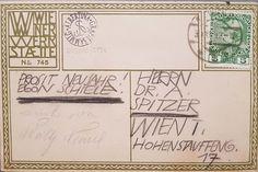 Postkarte Nr. 745 der Wiener Werkstätte. Egon Schiele an Dr. Alfred  Spitzer, Albertina, Inv. Nr. DG2003/2798. [Herzlichen Dank an das Archiv  der Albertina! Albertina, Vienna, Poster, Bullet Journal, Give Thanks, Archive, Postcards, Posters, Billboard