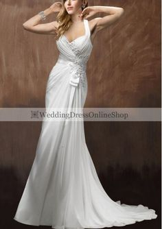 Chiffon Halter Neckline Sheath Style with Rich Beaded Lace Decoration Bodice Wedding Dress WM-0613