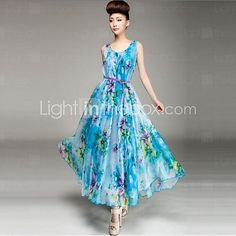 Women's+Floral+Blue/Pink+Dress,Maxi+Round+Neck+Sleeveless++-+AUD+$27.16