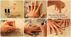 Step 1: Apply Nail Polish Step 2: Dip Nails in Alcohol Step 3: Place Newspaper on Nail Step 4: Apply Top Coat Whala! News paper nails