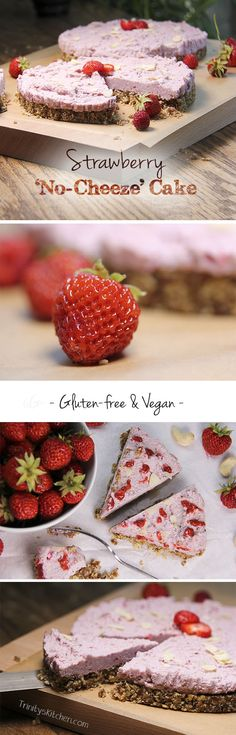 Strawberry No-Cheeze Cake - an absolutely delicious #dairyfree #glutenfree #vegan recipe without refined sugar.