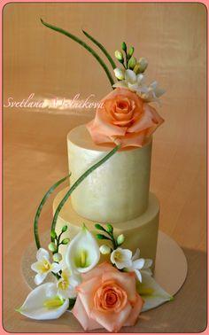 Torta de boda. Flores - pasta de goma. Свадебный торт